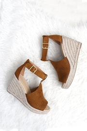 Perforated Faux Suede Open Toe Ankle Strap Platform Wedge Espadrille Sandals-Tan Brown