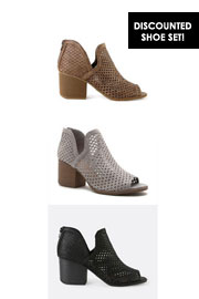 Perforated Ankle Slit Open Peep Toe Booties SET-Taupe, Grey, Black (GET 2 FOR $62 or GET 3 FOR $87) - Ends Soon