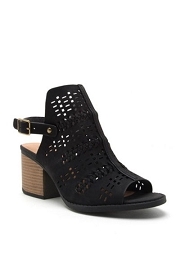 Back Cutout Open Toe Pattern Perforated Booties-Black