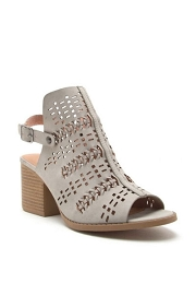 Back Cutout Open Toe Pattern Perforated Booties-Grey