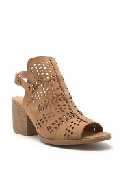 Back Cutout Open Toe Pattern Perforated Booties-Tan Brown