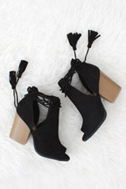 Boho Faux Suede Lace Up Cutout Ankle Booties with Stacked Heel-Black-IN STOCK!