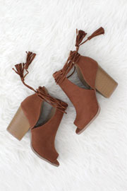 Boho Faux Suede Lace Up Cutout Ankle Booties with Stacked Heel-Camel Brown-IN STOCK!