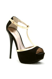 Georgeous T-Strap Faux Suede Peep Toe High Heel Shoes-Black & Gold