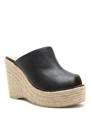 Bohemian Faux Leather Espadrille Wedge Heel Slip On Sandals-Black