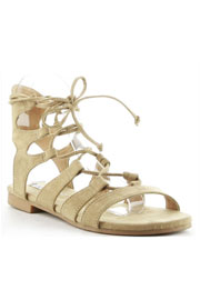 Faux Suede Bohemian Lace Up Gladiator Sandals-Beige