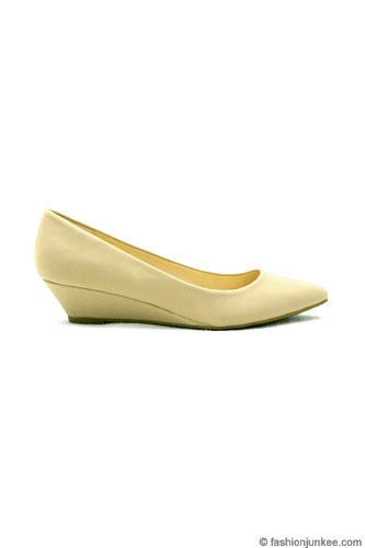 Matte Pointy Toe Kitten Wedge Low Heel Shoes-Nude Beige
