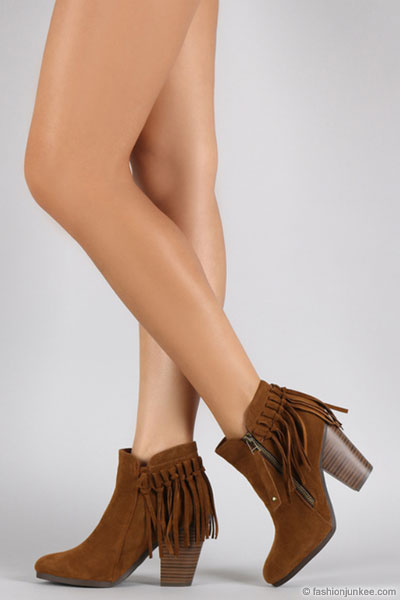 Boho Indie Faux Suede Individual Fringe Ankle Boots Booties-Taupe