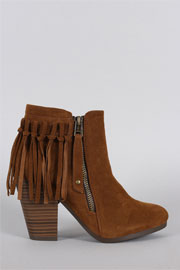 FLASH SALE: Boho Indie Faux Suede Individual Fringe Ankle Boots Booties-Camel Brown