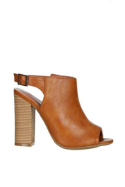 Open Peep Toe Faux Leather Ankle Booties with Stacked Heel-Camel Brown