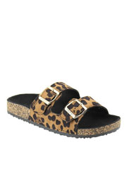 Double Strap Buckle Sandals-Leopard Print