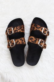 Double Strap Buckle Sandals-Leopard Print - IN STOCK!