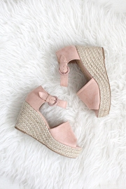 Faux Suede Open Peep Toe Ankle Strap Platform Wedge Espadrille Sandals-Blush Pink