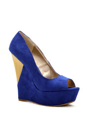 Peep Toe Faux Suede Geometric Wood Platfrom Wedges-Blue