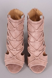 Strappy Cutout Open Peep Toe Ankle Booties-Blush