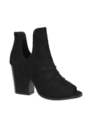 Faux Suede V-Cut Open Toe Wrinkled Ankle Booties-Black