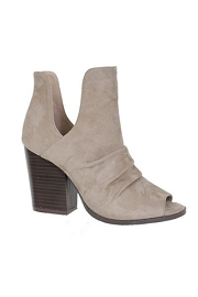 Faux Suede V-Cut Open Toe Wrinkled Ankle Booties-Taupe
