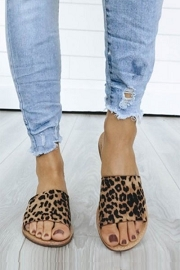 Single Band Animal Print Sandals-Leopard Print