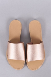 Metallic Single Band Animal Print Sandals-Rose Gold
