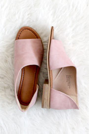 Open Toe Faux Leather Side Cutout Flats-Blush Pink