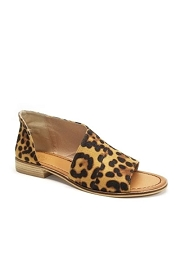 Open Toe Faux Suede Side Cutout Flats-Leopard Print