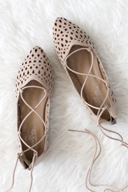 Laser Cut Pointy Toe Lace Up Ballet Flats-Nude