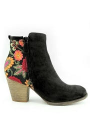 Block Heel Faux Suede Floral Embroidered Booties-Black