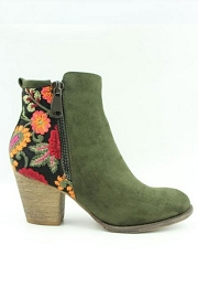 Block Heel Faux Suede Floral Embroidered Booties-Olive Green