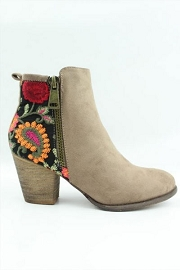 Block Heel Faux Suede Floral Embroidered Booties-Taupe