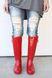 Glossy Rubber Knee High Rain Boots-Red