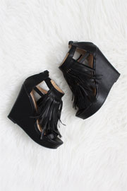 Faux Leather Fringe Sandals with Wedge Heel-Black