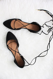 Faux Suede Pointy Toe Lace Up Strappy Ballet Ballerina Flats-Black