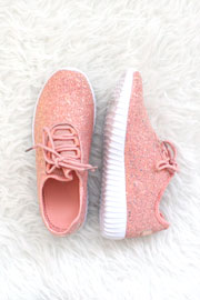 Lace Up Glitter Bomb Sneakers Shoes-Dusty Rose, Pink - (LIMITED TIME SALE!)