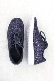 Lace Up Glitter Bomb Sneakers Shoes-Navy Blue- (LIMITED TIME SALE!)