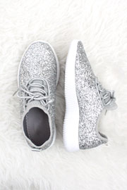 Lace Up Glitter Sneakers-Silver - (LIMITED TIME SALE!)