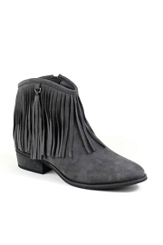 Faux Suede Fringe Flat Ankle Booties-Grey
