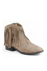 Faux Suede Fringe Flat Ankle Booties-Taupe