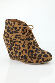 Faux Suede Lace Up Wedge Heel Ankle Bootie-Leopard Print