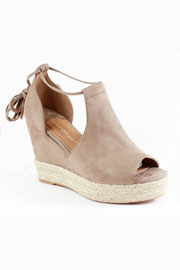 Faux Suede Lace Up Espadrille Wedge Sandals-Taupe Beige