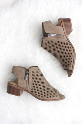 Open Peep Toe Comfortable Low Heel Perforated Ankle Booties-Taupe