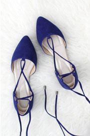 Faux Suede Pointy Toe Strappy Lace Up Ballet Flats-Blue