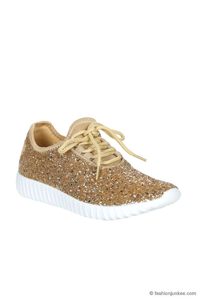 Lace Up Glitter Sneakers Gold