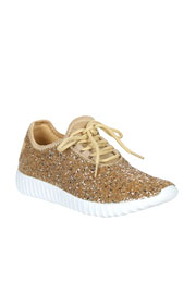 Lace Up Glitter Sneakers-Gold - (LIMITED TIME SALE!) - NOW IN STOCK!
