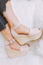 Open Peep Toe Ankle Strap Faux Suede Platform Wedge Espadrille Sandals-Nude