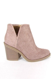 Closed Toe Perforated V Cut Out Ankle Booties with Block Heel-Blush Pink
