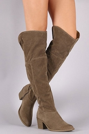 Faux Suede Over the Knee Boots with Low Heel-Taupe Grey