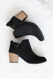Boho Indie Faux Suede Textured Perforated Ankle Booties with Low Heel-Black