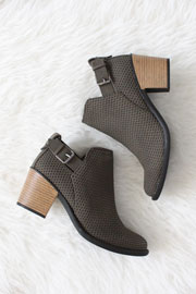 Boho Indie Faux Suede Textured Perforated Ankle Booties with Low Heel-Olive