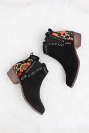 Faux Suede Floral Embroidered Booties with Low Heel-Black