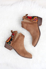 Faux Suede Floral Embroidered Booties with Low Heel-Camel Brown